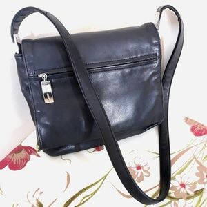 Liz Claiborne Vintage Flap Genuine Leather Handbag